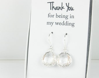 Clear Silver Earrings, Silver Crystal Earrings, Bridesmaid Gift, Crystal Wedding Jewelry, Bridesmaid Earrings, Crystal Bridal Accessories