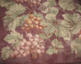 Vintage Echo Wool Square Scarf/Shawl - Brown with Grape Pattern - Bunches of Grapes, Leaves - Botanical, Vineyard Theme