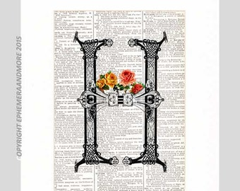 Monogram Letter H art print Initial Alphabet Typography Celtic with vintage Roses on upcycled dictionary text book page 5x7