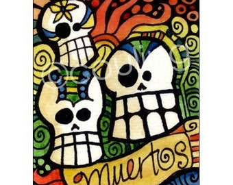 Day of the Dead Art - Sugar Skulls for Dia De Los Meurtos Art Card / ACEO Print by Artist Cindy Couling