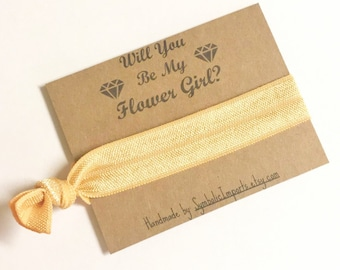 Hair Tie Flower Girl Gift - Will you be my Flower Girl Gift - Hair Tie Favor - Flower Girl Proposal - Hair Tie Gift