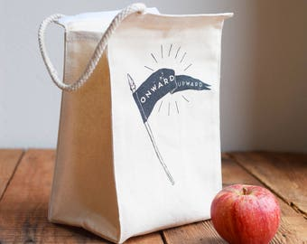 Lunch Bag - Screen Printed Lunch Bag - Reusable - Recycled Cotton - Lunch Box - Canvas Tote Bag - Canvas Lunch Bag - Onward and Upward - EAT