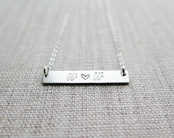 Personalized Initials with Heart Bar Necklace - Couples Initials Wedding - Hand Stamped Jewelry - by Betsy Farmer Designs