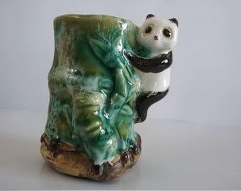 Antique small panda bamboo vase