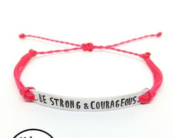 Joshua 1:9 Bracelet | Be Strong and Courageous | Courage Bracelet | Inspirational Message Bracelet | Hand Stamped Christian Jewelry