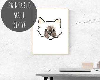 Cat Printable Wall Art, Instant Digital Download, Cat Lover, Gift for Her, Pretty Kitty, Cat Illustration Print, Cat Watercolor, Fur Mom.