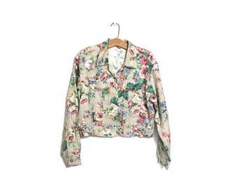 Vintage 80's 90's Cropped Jacket Floral Linen Type Texture Grunge Jacket 80's Clothing Small Medium Kikomo L