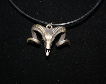Small Ram Skull Necklace on Leather Cord