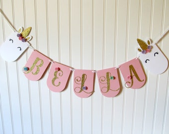 Unicorn Banner - Unicorn Party Banner - Unicorn First Birthday - Unicorn Party - Unicorn Decorations - Unicorn Theme Party - Pink and Gold