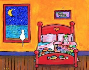 White cat bed quilt Odettes Moon - Print - Shelagh Duffett