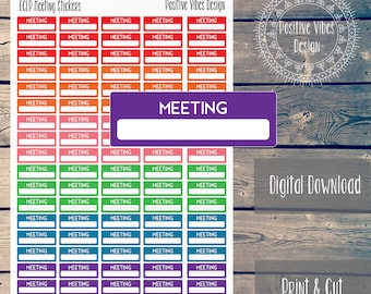 Printable Meeting Stickers for Erin Condren Life Planner Digital Download