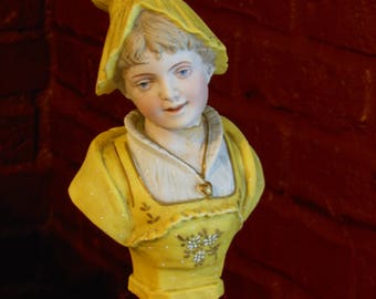 Vintage Young Girl Dressed in Yellow Bust