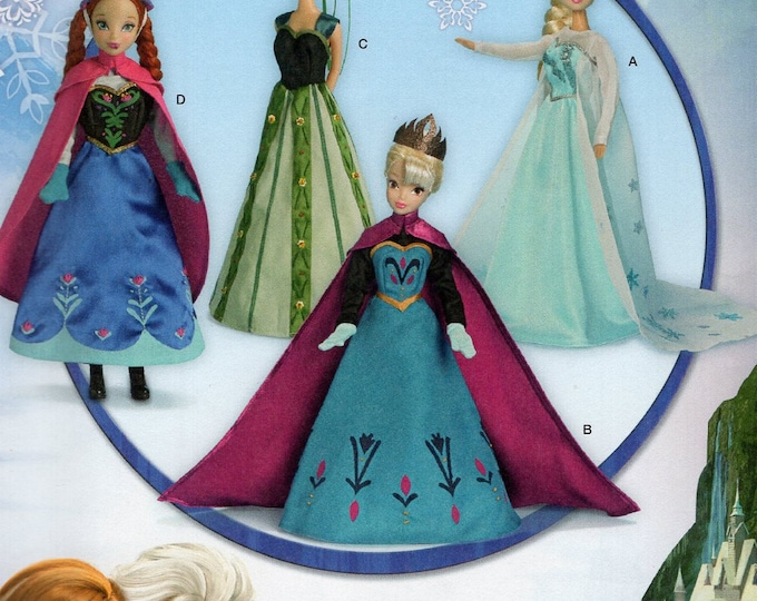"Simplicity 1234 Free Us Ship 11.5"" Fashion Barbie Doll Clothes Wardrobe Disney Frozen Costume New Sewing Pattern Out of Print Uncut New"