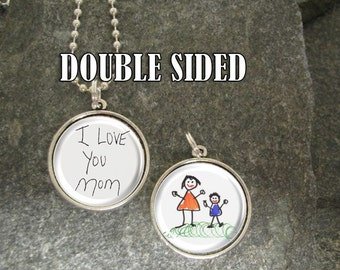 Two-Sided Your Child's Artwork Necklace, Custom Photo Pendant Necklace, Kid's Art Necklace