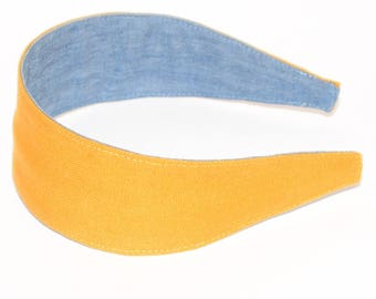 REVERSIBLE Mustard Linen Comfort Fit Fabric Headband