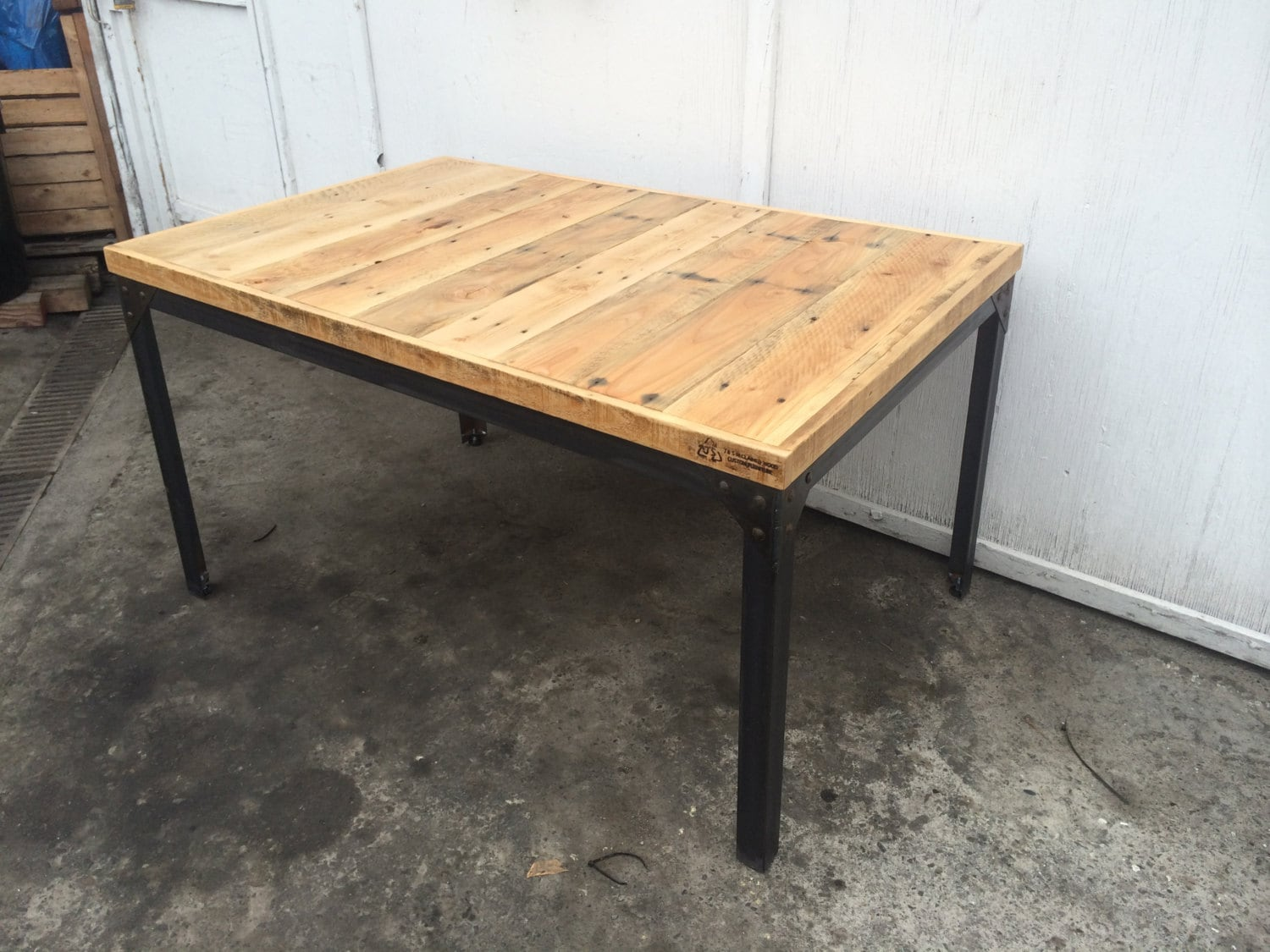pine pallet wood dining table with hand welded steel base with. Black Bedroom Furniture Sets. Home Design Ideas
