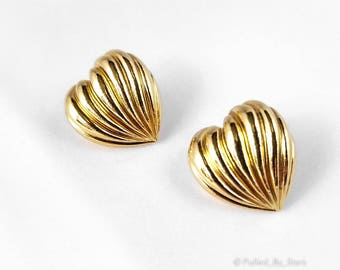 Vintage 90's Avon 'Pleated Heart' Earrings