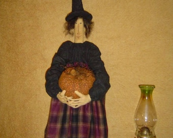 Doll epattern Witch Halloween with pumpkin crow sewing pattern
