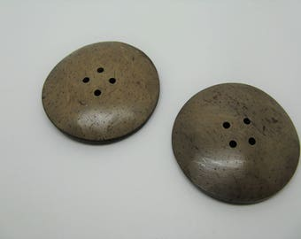 Set of 2 large round buttons coconut 5 colors-Brown ref 7 cm