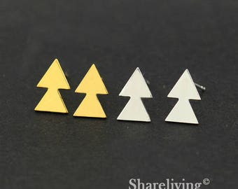 4pcs (2 Pairs) Silver, Golden 2 Triangle Stud Earring, Nickel Free, High Quality Brass Earring Post - ED414