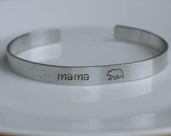 Mama bear cuff bracelet - hand stamped - mom bracelet - custom bracelet