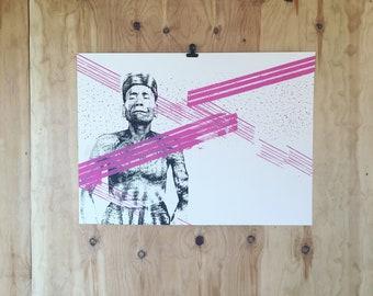 Screenprint // Indonesian man //  Black & Pink