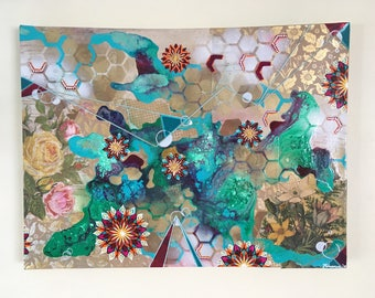 """Original """"Manifestations of Spontaneous Order"""" Mixed Media on Gallery Wrapped Canvas"""