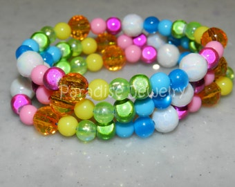 Rainbow Party favors, Bead Bracelet Children's Jewelry Kid Toddler Child Size Set of 6 Party Favors Rainbow Unicorn Party Girls Birthday