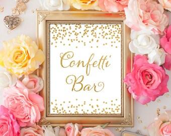 Printable Wedding sign Confetti Bar 8x10 Gold Glitter Confetti Bar Sign DIY Wedding poster Printable Digital INSTANT DOWNLOAD 300dpi