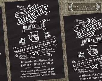 Chalkboard Vintage Bridal Tea invitations. Bridal Shower - high tea invitations printable.