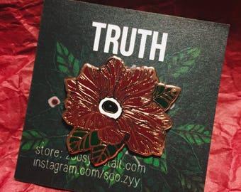 Rose Gold Enamel Pins - Flower Pins - Eyeball Pins