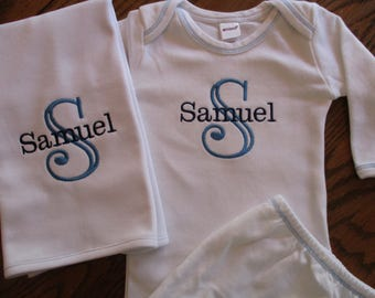 Personalized Infant boy gown Personalized baby boy gown  gown with blue stitching and dark blue monogram