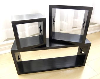 Box Shelves in Pinewood Painted Satin Black Set of 3