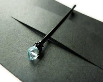 Blue Topaz Bobby Pin - Something Blue - Gemstone Bobby Pin
