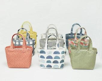 Mini Canvas Tote Bag in our new prints!  Handbag / Purse / Summer Bag / Cute Bag.  MADE IN USA.