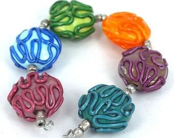 Lampwork glass beads Graffiti Lampwork beads (6) SRA, jewelry supplies, handmade lampwork, beads