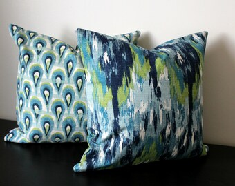 Decorative Throw Pillow Covers,Ikat Pillow Covers, Set of Two Covers,Green Blue White Pillow Covers, Accent Pillow,Toss Pillows,Sofa Pillows