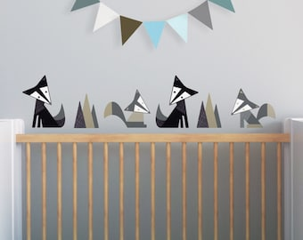 Fox Wall Decal, Black Fox Decal, Gray Nursery, Woodland Wall Decal, Kids Decals. Foxes Children Wall Decal