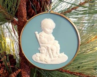 1992 Jesus Loves Me Hallmark Keepsake Ornament,  Light Blue / Green Cameo Christmas Ornament
