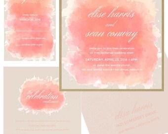 6x6 Marbeled Watercolor Peach Wedding Invitation - Includes envelope liner, RSVP, digital return envelope addressing
