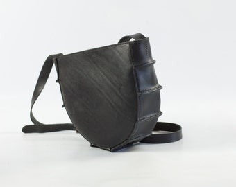 Round Black Leather Shoulder Bag