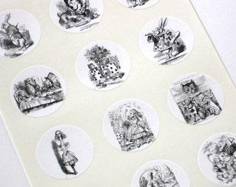 Alice in Wonderland Stickers One Inch Round Seals