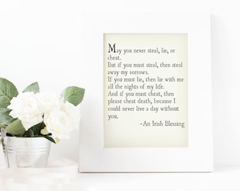 """Printable quote, Irish blessing, """"May you never steal..."""", instant download, farmhouse decor, wedding gift, anniversary gift, 8x10 sign"""