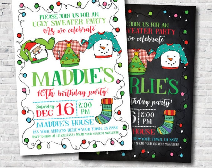 Ugly Sweater Invitation, Holiday Invitation, Christmas Birthday Party, Personalized Invite, Unisex Birthday Invitation, DIGITAL
