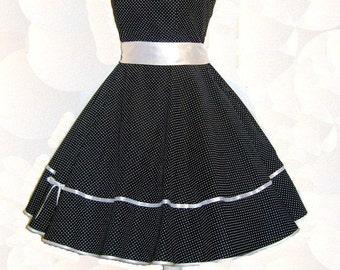 Rockabilly dress with collar, petticoat dress, neckholder dress, plate skirt, cotton dress, 50s dress, dress, blue, white