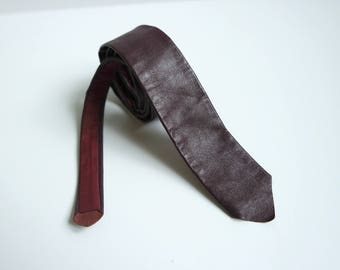 Vintage Leather Skinny Tie, Cherry Red Leather Nectie, 1980s