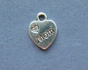 10 Mom Charms - Mom Pendants - Heart Charm - Mother's Day - - Mother - Antique Silver - 12mm x 10mm  -- (-No.45-11130)