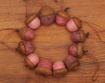 Pink Felted Wool Acorns or Acorn Ornaments