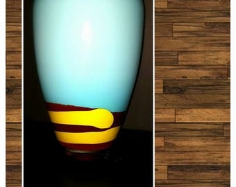 Light Blue Yellow Stripe Vase