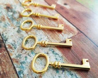Skeleton Key Pendants Shiny Gold Keys Steampunk Keys Key Charms Barrel Keys Gold Skeleton Keys 41mm 5pcs